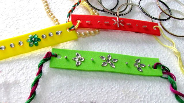 Rakhi with foam - We have 15 best ideas to make Rakhi at home for Rakshabandhan - Perfect rakhi ideas for kids to make, rakhi competition, best of waste, simple and handmade with detailed step by step images- ArtsyCraftsyMom
