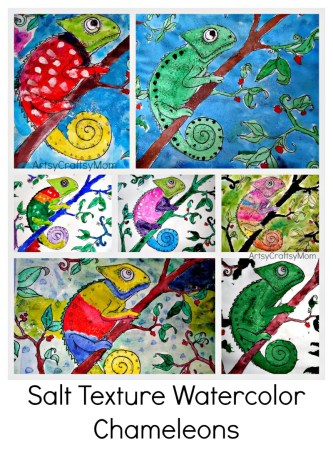 Salt Texture Watercolor – Chameleons at Anand Vidyalaya