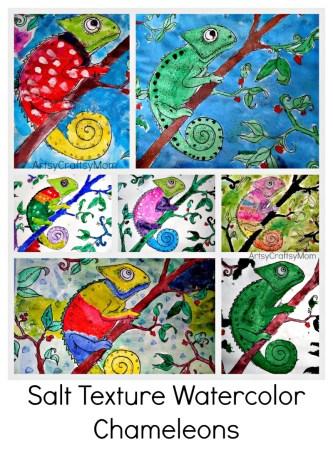 Salt Texture Watercolor art - Mixed up Chameleons