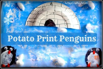Antarctic-Theme Potato Print Penguin Craft