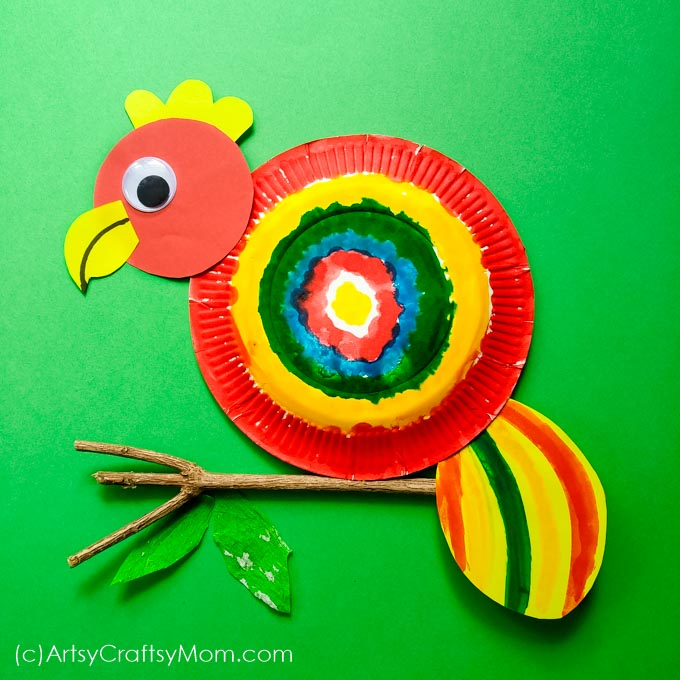 Paper Plate Parrot Craft Rainforest Themed Craft For Preschoolers