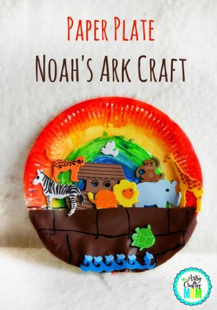 Paper plate Noah's Ark Craft- We made this little Noah's Ark craft when we were learning about Noah. One of the books that we read along with our actual Bible stories was The Boat of Many Rooms: The Story of Noah in Verse