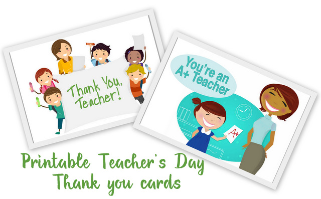 Teacher's day Thank you cards - From our post 20 Last Minute Handmade Teacher's Day Card ideas at ArtsyCraftsyMom.com - Free, printable and personalized thank-you cards that kids can make and Teachers will love! Perfect for National Teacher Appreciation Week and or end of school Teacher appreciation tags.