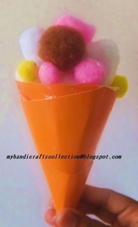Pom Pom ice cream cone by Shama