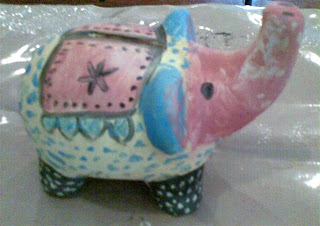 ceramic elephnat art - piggy bank