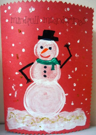 Snowman Card for Christmas - Bottle stamped art