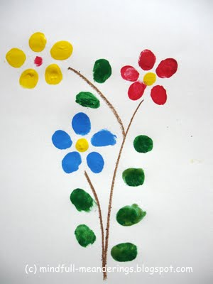 Finger print flowers - greeting card