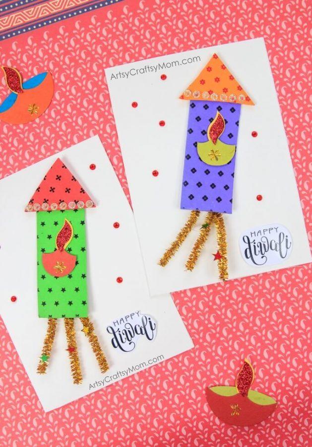 firecracker themed diwali greeting card for kids  artsy