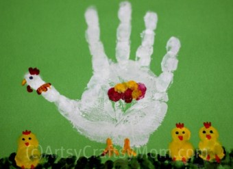 Handprint Chicken with Chicks