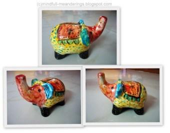 ceramic hand painted elephant piggy bank