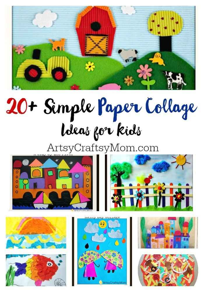 20 simple paper collage ideas for kids artsy craftsy mom for Crafts and hobbies ideas