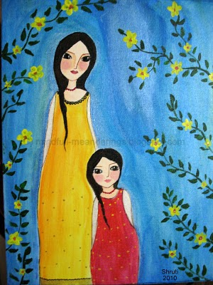 Acrylic on canvas - Mother daughter