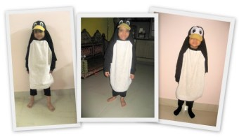 DIY homemade halloween costume - upcyled T shirt penguin