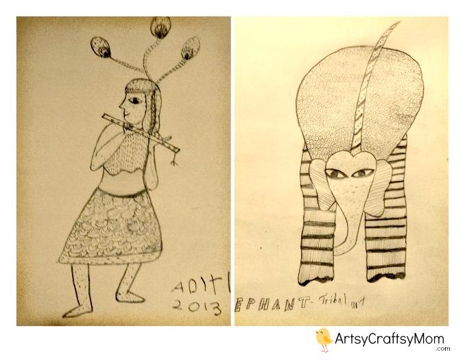 Gond style Folk Art by kids
