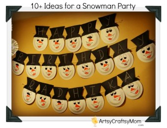 Snowman Theme Birthday Party - Snowman paper plate bunting