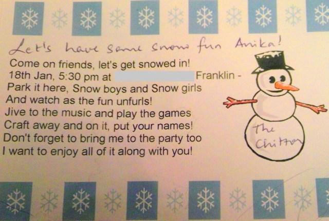 Snowman Theme Birthday Party invite