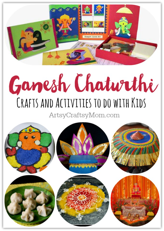 Ganesh Chaturthi Crafts and Activities to do with Kids - Make a Clay Ganesha, decorate, Ganesha's throne & umbrella, rangoli ideas, recipes, books and more