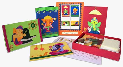 ganapati-card-making-kit - via ArtsyCraftsyMom.com - Ganesh Chaturthi Crafts and Activities to do with Kids - Make a Clay Ganesha, decorate, Ganesha's throne & umbrella, rangoli ideas, recipes, books and more