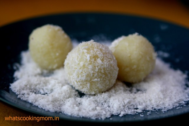 nariyal burada - coconut laddoo recipe - via ArtsyCraftsyMom.com - Ganesh Chaturthi Crafts and Activities to do with Kids - Make a Clay Ganesha, decorate, Ganesha's throne & umbrella, rangoli ideas, recipes, books and more