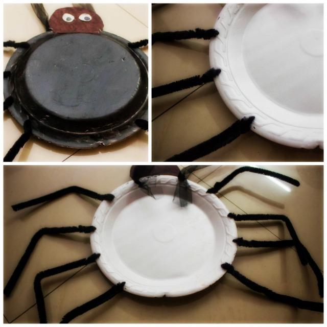 DIY Gigantic Syrofoam Plate spiders - Halloween party decor