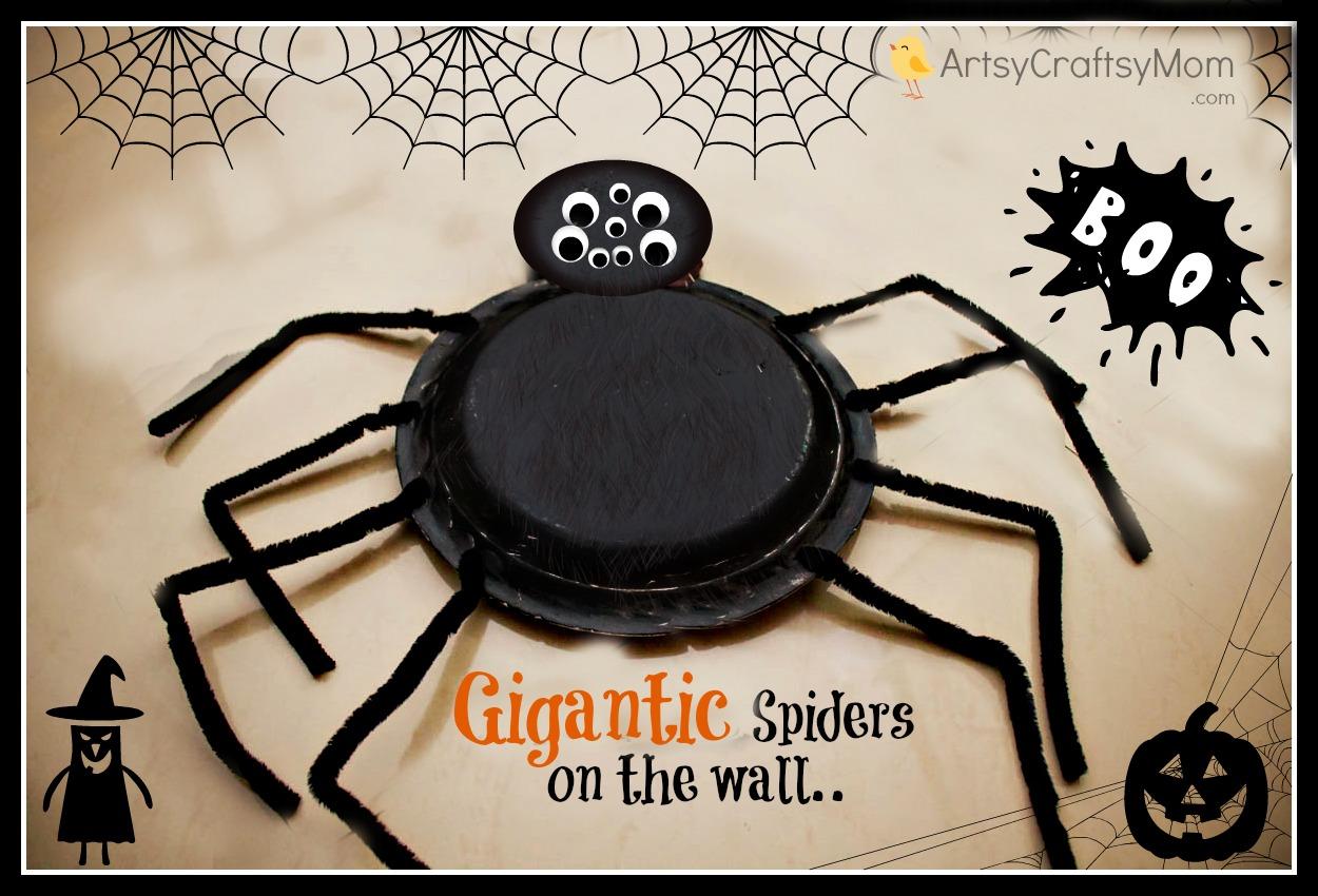 DIY Gigantic Syrofoam Plate spiders - Halloween party