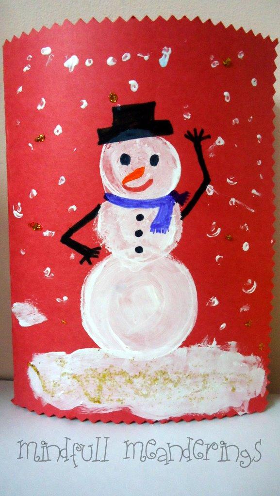 Snowman Christmas Card Ideas For Kids.Make Your Own Snowman Card For Christmas Artsy Craftsy Mom