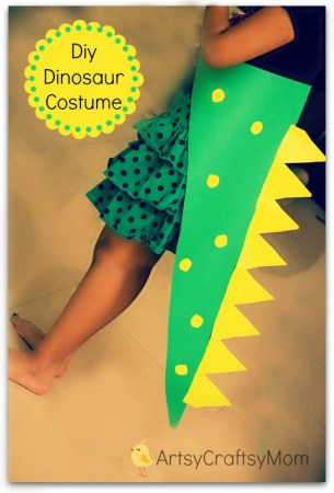 Easiest DIY No Sew Dinosaur costume for kids