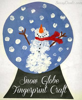 fingerprint snow globe snowman craft