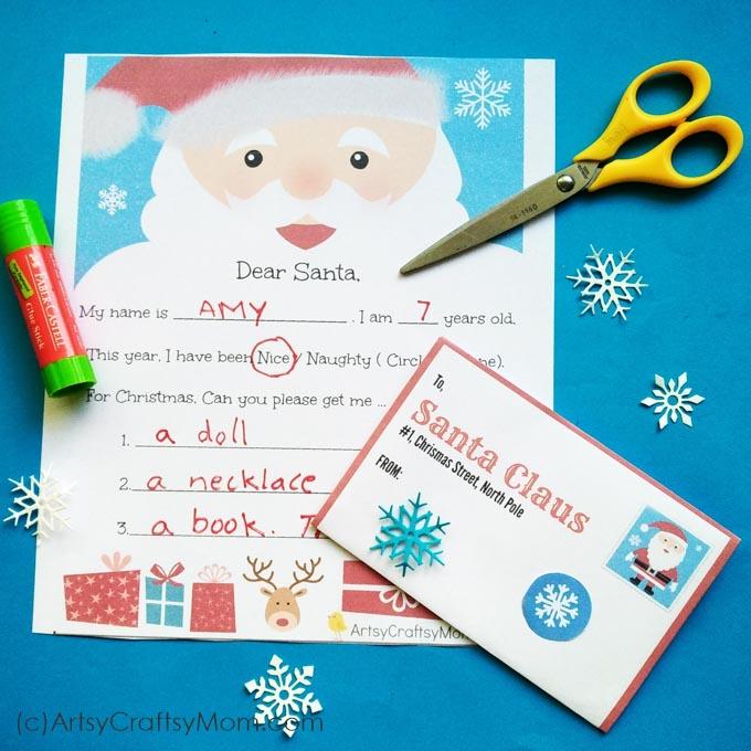 graphic regarding Free Printable Santa Envelopes referred to as No cost Printable Letter toward santa and Envelope for Small children