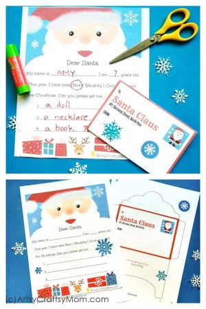 Here's a Free Printable Letter to Santa and matching envelope perfect for the little ones to fill out. Print, Fill in age, gift list for Christmas & post.