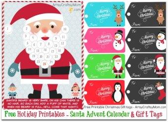 Free Holiday Printable – Santa Advent Calendar and gift tags