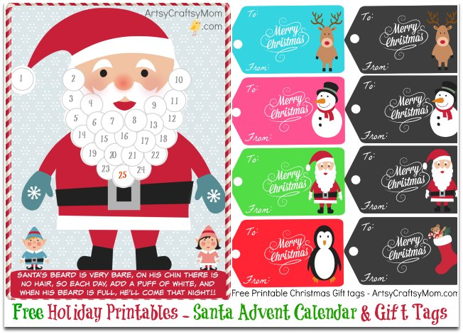 Free holiday printable santa advent calendar and gift tags free holiday printable santa advent calendar and gift tags negle Images