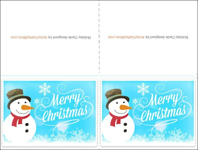 Free Printable Christmas card - blue - Snowman