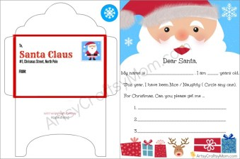 FREE Printable Letter to santa and Envelope for Children