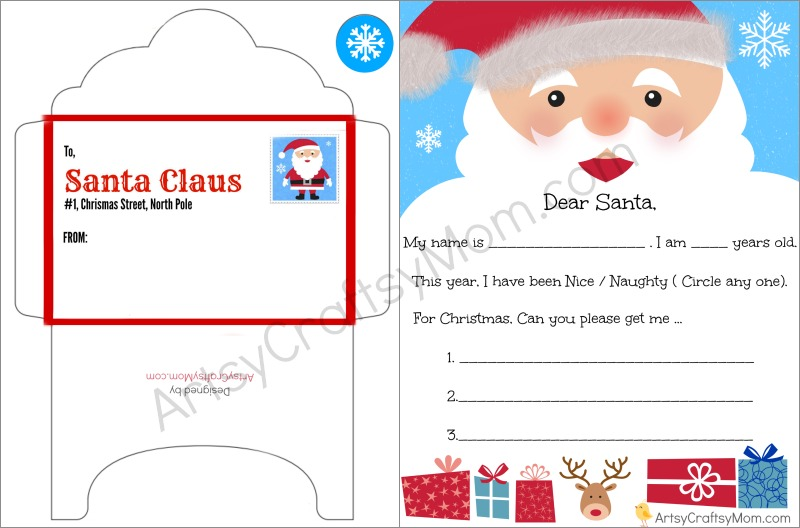 FREE Printable Letter to santa and Envelope for Children Artsy