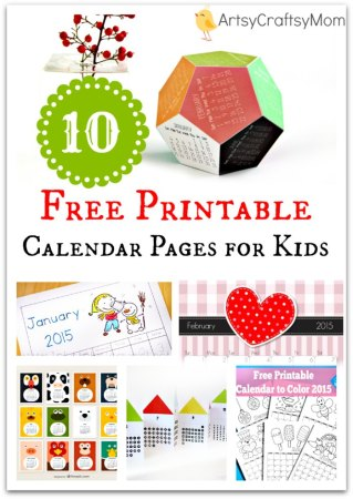 10 Free Printable Calendar Pages for Kids