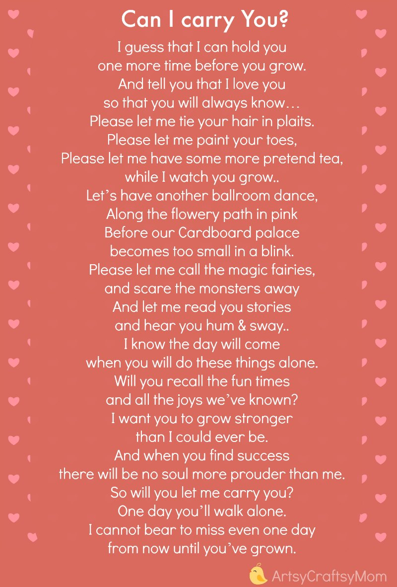 Can I carry You -poem for my daughter