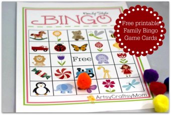 Free Printable Family Bingo Card set