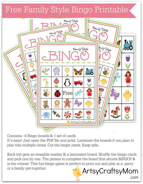 Free Printable Family Bingo Card set2