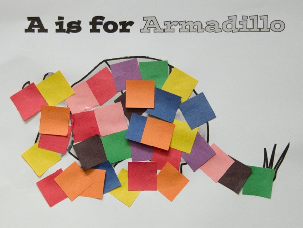 armadillo squares craft for kids