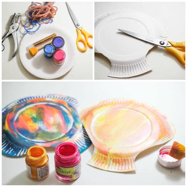 Paper Plate seashell craft step by step tags - paper plate, toddler crafts. ocean study, clams,