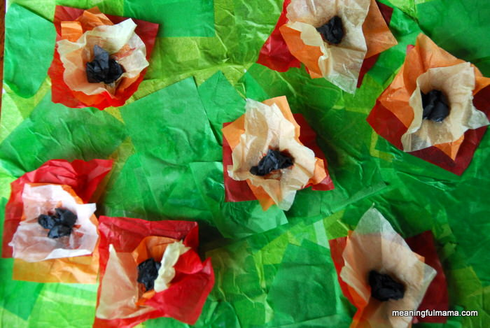 Tissue paper Monet poppies - Monet was the father of Impressionist painting. Check out our Art appreciation series - 10 Claude Monet Art Projects for Kids - impressionism, lily pond etc