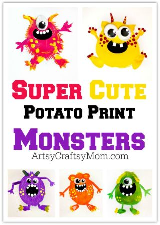 5 Potato Print Monsters for Kids + Free Printable
