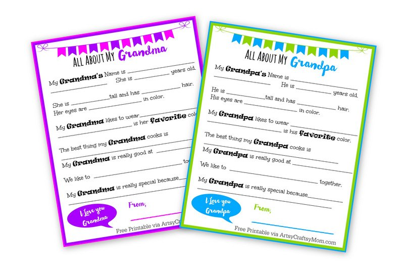 Free Printable I love my Grandpa & I love my Grandma letters. PDF download. Perfect for Grandparent's day
