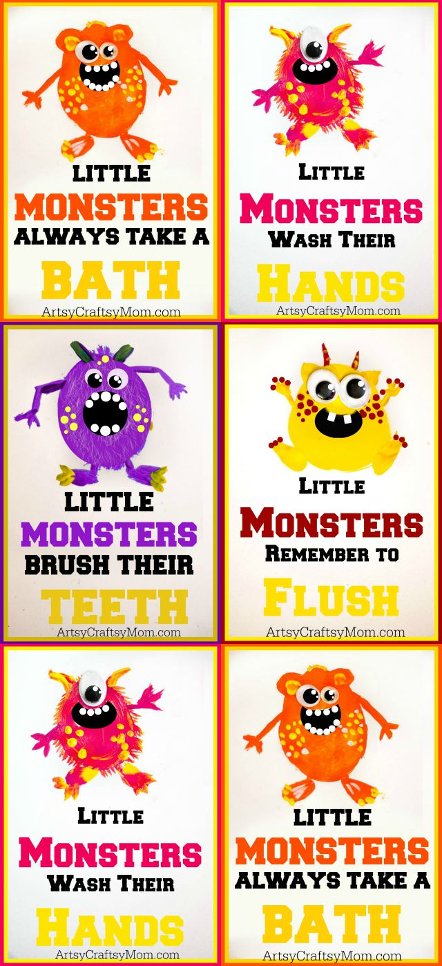 5 Super Cute Potato Print Monsters perfect for Halloween + Free Printable Little Monster Wall Art, that teaches good habits, and its free to download!