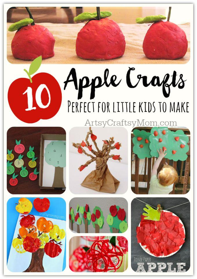 Top 10 Easy Apple Crafts For Kids via ArtsyCraftsyMom - Games, prints, playdoh, paper plates -everything to get your kids excited about Fall with fun and easy apple crafts!