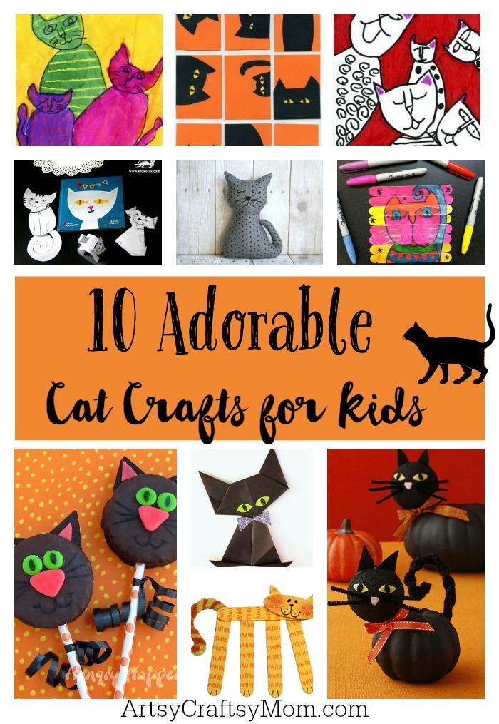 10 Adorable Cat crafts for kids - October 29th is National Cat day - Sharing our favorite 21 Cat - themed craft activities & books. Free Printable, Art and craft activities and loads of books