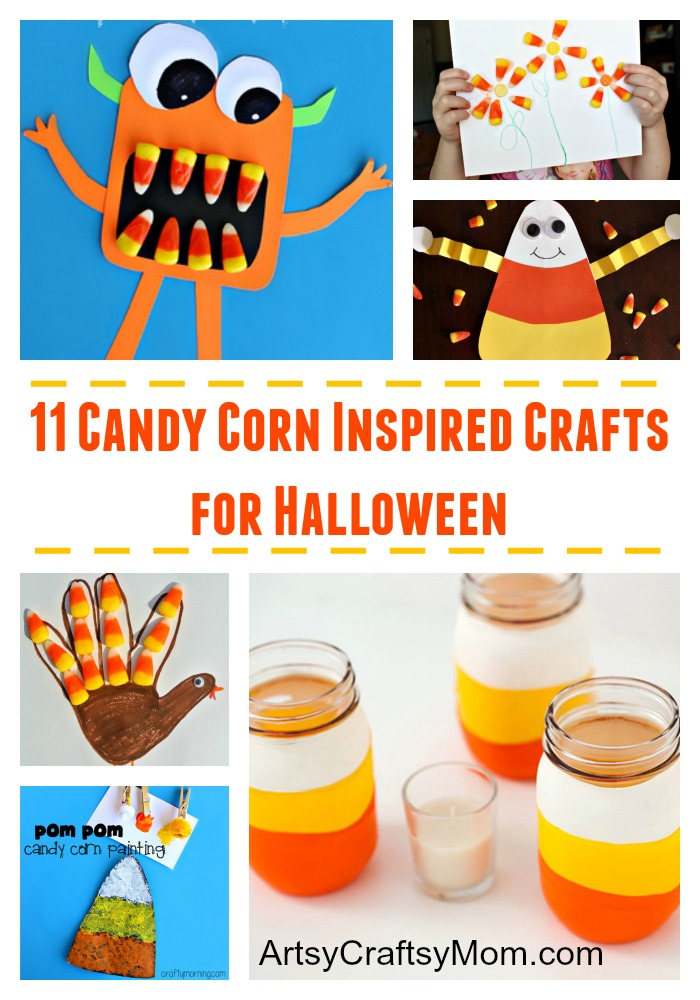 11 Candy Corn Inspired Crafts for Halloween - inexpensive, eye-catching & fun for Toddlers, preschoolers & young kids. All you need is a bag of Candy corn