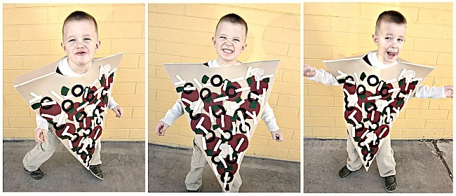 DIY Pizza Halloween costume for kids - Try these 21+ Last minute Halloween costume ideas that are both creative and easy and you can pull off in less than one hour. Minions, bandits, dolls and more