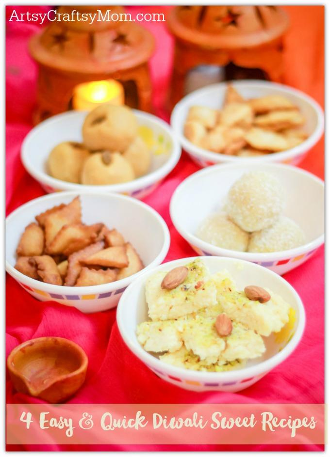 4 Easy & Quick Diwali Sweet Recipes- 4 Easy & Quick Diwali Sweet Recipes- Make quick Diwali Sweets Recipes like Nariyal ladoo, besan ladoo, Instant Kalakand and Shankarpali. Perfect for conversations, laughter and family time.